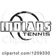 Clipart Of A Black And White Ball And INDIANS TENNIS Team Text Royalty Free Vector Illustration