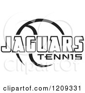 Clipart Of A Black And White Ball And JAGUARS TENNIS Team Text Royalty Free Vector Illustration