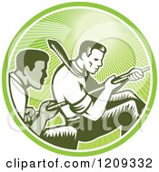 Clipart Of Retro Woodcut Competitive Businessmen Working Together In A Tug Of War In A Green Sunny Circle Royalty Free Vector Illustration by patrimonio
