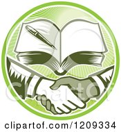 Clipart Of Retro Woodut Men Shaking Hands Under A Book In A Green Sunny Circle Royalty Free Vector Illustration