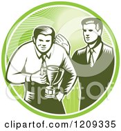 Clipart Of A Retro Woodcut Businessman Receiving A Trophy From His Boss In A Green Sunny Circle Royalty Free Vector Illustration