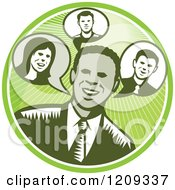 Clipart Of A Retro Woodcut Businessman In A Green Sunny Circle Royalty Free Vector Illustration