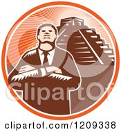 Clipart Of A Retro Woodcut Black Businessman With Folded Arms Over A Pyramid In An Orange Sunny Circle Royalty Free Vector Illustration