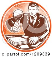 Clipart Of A Retro Woodut Businessman Inspecting Documents With A Magnifying Glass In An Orange Circle Royalty Free Vector Illustration by patrimonio