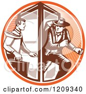 Retro Woodcut Businessman Changing To An Explorer In A Phone Booth In An Orange Sunny Circle