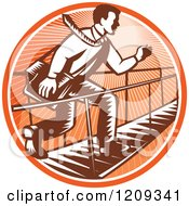 Clipart Of A Retro Woodcut Businessman Running Across A Foot Bridge In An Orange Sunny Circle Royalty Free Vector Illustration