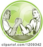 Clipart Of Retro Woodcut Competitive Businessmen Arm Wrestling In A Green Sunny Circle Royalty Free Vector Illustration