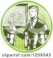 Clipart Of Retro Woodcut Businessmen Holding A Networking Meeting In A Green Sunny Circle Royalty Free Vector Illustration