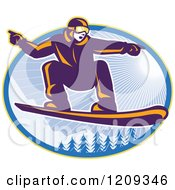 Clipart Of A Retro Snowboarder Catching Air Over Alpine Trees And Sunshine In An Oval Royalty Free Vector Illustration