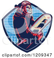 Clipart Of A Retro Snowboarder In A Blue Diamond Patterned Crest Shield Royalty Free Vector Illustration