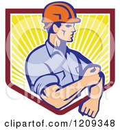 Clipart Of A Retro Construction Worker Rolling Up His Sleeves Over A Sunny Shield Royalty Free Vector Illustration