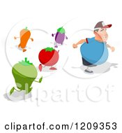 Cartoon Of Healthy Vegetables Chasing A Chubby Burger Man Royalty Free Clipart