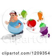 Cartoon Of A Chubby Burger Man Running From Healthy Vegetables Royalty Free Clipart