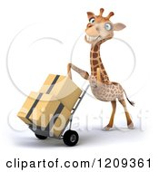 Clipart Of A 3d Happy Giraffe Pushing Boxes On A Dolly Hand Truck 3 Royalty Free CGI Illustration by Julos