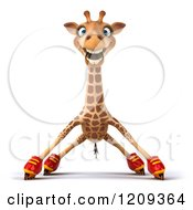 Clipart Of A 3d Happy Giraffe Roller Blading 3 Royalty Free CGI Illustration