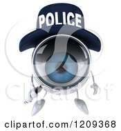 Clipart Of A 3d Blue Police Eyeball Character Using A Magnifying Glass 3 Royalty Free CGI Illustration