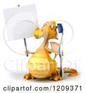 3d Yellow Dragon Holding A Toothbrush And Sign