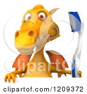 Clipart Of A 3d Yellow Dragon Holding A Toothbrush Over A Sign Royalty Free CGI Illustration