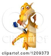 Clipart Of A 3d Yellow Dragon Holding A Toothbrush And Looking Around A Sign Royalty Free CGI Illustration