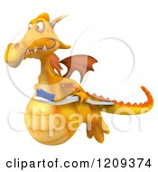 Clipart Of A 3d Yellow Dragon Flying With A Toothbrush Royalty Free CGI Illustration
