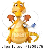 Clipart Of A 3d Yellow Dragon Holding A Toothbrush Royalty Free CGI Illustration