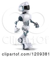 Clipart Of A 3d Techno Robot Walking Royalty Free CGI Illustration