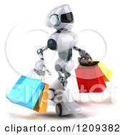 Clipart Of A 3d Techno Robot Carrying Shopping Bags 2 Royalty Free CGI Illustration