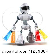 Clipart Of A 3d Techno Robot Carrying Shopping Bags Royalty Free CGI Illustration