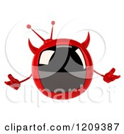 Clipart Of A 3d Evil Devil Tv Shrugging Royalty Free CGI Illustration by Julos