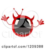 Clipart Of A 3d Evil Devil Tv Jumping Royalty Free CGI Illustration by Julos