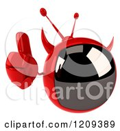 Clipart Of A 3d Evil Devil Tv Holding A Thumb Up Royalty Free CGI Illustration by Julos