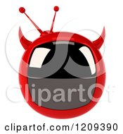 Clipart Of A 3d Evil Devil Tv Royalty Free CGI Illustration by Julos