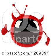 Clipart Of A 3d Evil Devil Tv Holding A Thumb Up 2 Royalty Free CGI Illustration by Julos