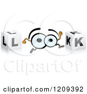 Clipart Of A Pair Of Eyes And Cubes Spelling The Word LOOK Royalty Free Vector Illustration