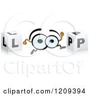Clipart Of A Pair Of Eyes And Cubes Spelling The Word LOOP Royalty Free Vector Illustration