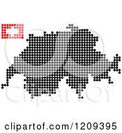 Clipart Of A Dotted Switzerland Map And Flag Royalty Free Vector Illustration