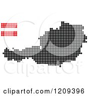 Clipart Of A Dotted Austrian Map And Flag Royalty Free Vector Illustration