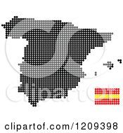 Clipart Of A Dotted Spanish Map And Flag Royalty Free Vector Illustration
