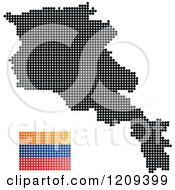 Clipart Of A Dotted Armenian Map And Flag Royalty Free Vector Illustration