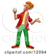 Clay Sculpture Clipart Man Drinking Lemonade Royalty Free 3d Illustration