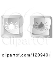 Clipart Of 3d Silver Ringing Bell Keyboard Button Icons Royalty Free Vector Illustration
