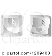 Clipart Of 3d Silver Heart Music Note Keyboard Button Icons Royalty Free Vector Illustration by Andrei Marincas