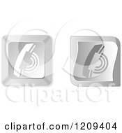 Clipart Of 3d Silver Ringing Telephone Keyboard Button Icons Royalty Free Vector Illustration