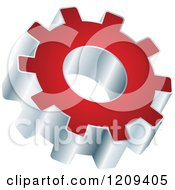 Clipart Of A 3d Red And Silver Gear Setting Icon Royalty Free Vector Illustration
