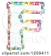Clipart Of A Colorful Pixelated Capital Letter F Royalty Free Vector Illustration