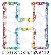 Clipart Of A Colorful Pixelated Capital Letter H Royalty Free Vector Illustration