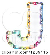 Clipart Of A Colorful Pixelated Capital Letter J Royalty Free Vector Illustration