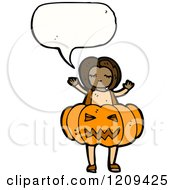 Cartoon Of A Speaking Girl In A Jack O Lantern Costume Royalty Free Vector Illustration by lineartestpilot