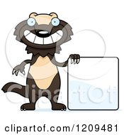 Cartoon Of A Happy Wolverine Mascot With A Sign Royalty Free Vector Clipart by Cory Thoman