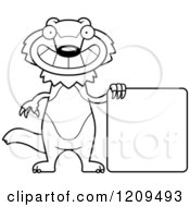Cartoon Of A Black And White Happy Wolverine Mascot With A Sign Royalty Free Vector Clipart by Cory Thoman